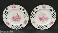 Antique Hand Painted Minton Cupid Decoration Reticulated Plates 1902+