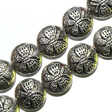 ANTIQUED PEWTER SILVER BEADS FLAT ROUND DISCS BUTTERFLY DESIGNS 11MM  18 BEADS
