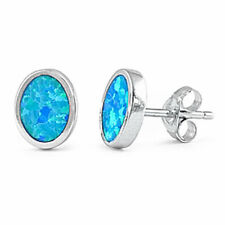 PRETTY! BLUE OPAL OVAL SHAPE STUDS .925 Sterling Silver Earring