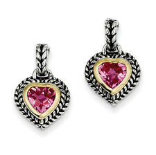 Shey Couture Sterling Silver w/14k Yellow Gold Pink Sapphire Post Earrings