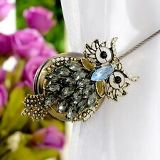 Pair Of Magnetic Curtain Decoration Clip On Holder Tie Backs - Bronze Owl Design