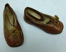Baby Girls Antique Leather Shoes Handmade Edwardian Victorian Child's Dolls Shoe