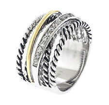 Stainless Steel Tri Color Stack Ring with Clear Crystals, Sizes-6,10