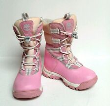 Timberland Snow Boots Pink Leather Peach Grey Girls Toddler 7 Insulated Warm