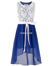 Blue Girls Kids Pageant Party Ball Gown Bridesmaid Wedding Chiffon Dresses SZ 14
