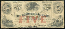 1861 $5 THE COMMERCIAL BANK OF GLEN'S FALLS, NY OBSOLETE BANKNOTE RARE