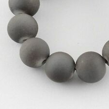 "Glass Bead Strands Rubberized Beads Round DarkGray 6mm 31.4"" X-DGLA-S072-6mm-40"
