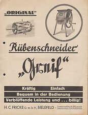 BIELEFELD Werbung Prospekt 1936 Original Rübenschneider Greif  H. C. Fricke GmbH