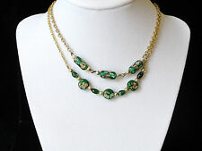 2 Gold-Tone Chain Necklaces w/ Green Painted Beads- Beautiful & Delicate