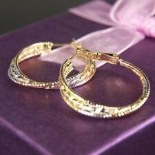 """SALE 9ct 9K White & Yellow """" Gold Filled """" Prom Girl 34mm Hoop Lady Earring E585"""