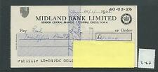 wbc. - CHEQUE - CH348- USED - 1968 - MIDLAND BANK, HENDON CENTRAL, LONDON  NW4