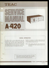 Orig Factory Teac A-420 Stereo Cassette Deck Service Manual Parts List Schematic