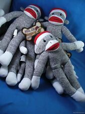 WHOLESALE LOT OF 5 GREY SOCK MONKEYS FOR DOGS CATS PET TOY squeek squeak doll