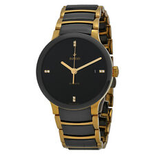 Rado Centrix Black Dial Gold-plated and Black Ceramic Mens Watch R30035712