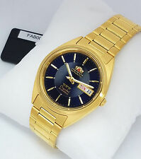 ORIENT 3 Star Automatic Gold Tone Watch Mens watch FAB00004D9 Dark Blue Dial NEW
