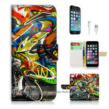 "iPhone 6 Plus (5.5"") Print Flip Wallet Case Cover! Graffiti and Motocycle P0144"