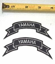 NEW -  2 YAMAHA IRON ON PATCHES -  FREE SHIPPING -  BLACK WITH WHITE