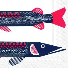 Marimekko HAUKI FISH paper lunch napkins new 20 in pack 33 cm sq