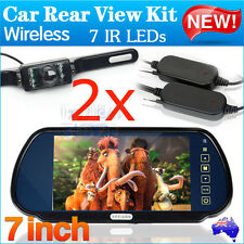 "2x Wireless Car Rear View Kit 7"" LCD Monitor+ 2x 7 IR LED Reversing Camera Night"