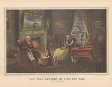 "1952 Vintage Currier & Ives ""THE FOUR SEASONS OF LIFE: OLD AGE"" COLOR Lithograph"