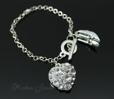 CRYSTAL LOVE HEART HIGH HEEL CHARM STERLING SILVER PLATED WOMENS TOGGLE BRACELET