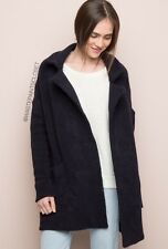 Brandy Melville Dark Navy Blue Thick Heavy Wool Kennedy Open Coat Nwt