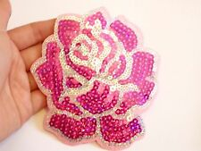 large rose patches sequin applique patch motif iron on sew on craft flower UK