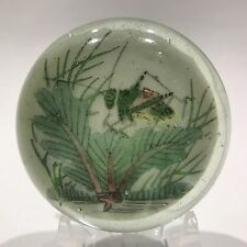 Antique Chinese Painted White Ground Art Glass Paperweight Cricket in Foliage