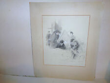 Listed Louis Loeb (1866– 1909) Jewish American illustrator pencil wash drawing