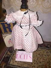 Vintage red swiss dot patterned dress with attached slip for antique doll