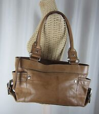FOSSIL Large Brown Leather Satchel Bag Classic Purse Roomy 75082 Double Handles