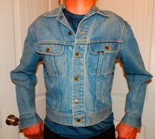 vtg 70s LEE RIDERS denim trucker jacket blue jean faded distress medium 153438