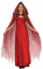 Ladies Halloween Red Ghost Cape Fancy Dress Costume Accessory Womens Outfit
