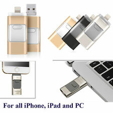 Black 128GB i Flash Drive 3 in1 USB Memory Stick U Disk for Android/IOS Iphone