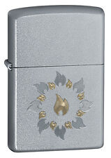 Zippo Windproof Satin Chrome Lighter, Ring Of Fire, # 21192, New In Box