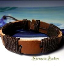 Men's Trendy Hemp Leather Surfer Biker Characters Hip Hop Bracelet Wristband