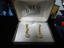 NOLAN MILLER Faux Pearl Crystal Gold Tone Drop Pierced Earrings