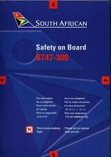 SAA south african airways B 747 300 SAFETY CARD airline brochure ee e242