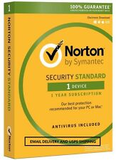 Norton Security Standard 3.0 2017 - 1 Device - Email Delivery - USPS Delive