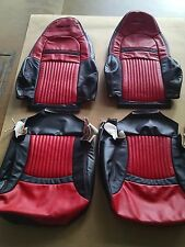 1997 - 2004 C5 Corvette Z06 Seat Torch Red/Black Leather Replacement Covers