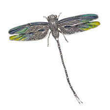 LARGE Sterling Silver Marcasite Dragonfly Brooch with Multi Color Enamel Wings