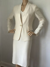 NEW ST JOHN KNIT SZ 12 DRESS SUIT JACKET WHITE CREAM  WOOL RAYON