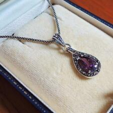 Sterling Silver Amethyst Marcasite Pendant Necklace