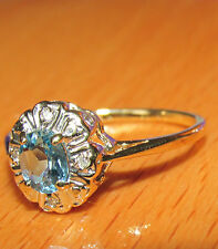 BEAUTIFUL SECONDHAND 9ct YELLOW GOLD BLUE TOPAZ & DIAMOND  RING SIZE J