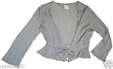 TOMAS MAIER cropped METALLIC SILVER wrap SHRUG cardigan slinky top NEW $895 S