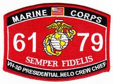 "USMC ""VH-3D PRESIDENTIAL HELO CREW CHIEF"" 6179 MOS MILITARY PATCH SEMPER FIDELIS"