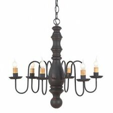 COUNTRY wood chandelier/ hartford black over red  /nice/ Free ship