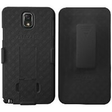 AMZER BLACK HARD SHELL CASE w/ STAND FOR SAMSUNG GALAXY NOTE 3 + SCREEN GUARD