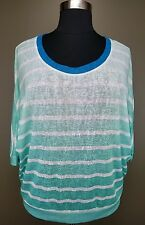 LANE BRYANT GREEN WHITE OMBRE STRIPED 3/4 DOLMAN SLEEVE KNIT TOP PLUS Sz 18/20