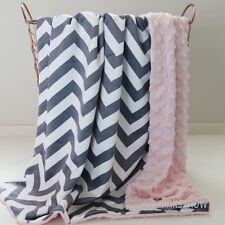 Special Baby Minky Blanket Stroller Cot Shower Gift Chevron Grey Pink